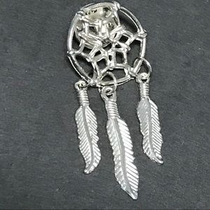 "Silver 2"" Dream Catcher Pin Brooch Feathers Native"
